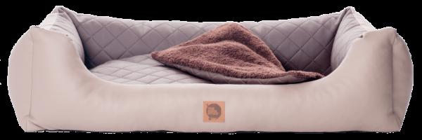 Komfortable Kunstleder-Couch mit Wendekissen