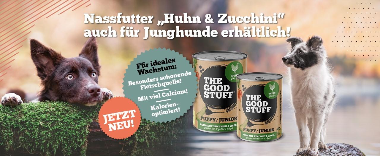 """Von Beginn an mit gutem Gewissen füttern: Jetzt neu – das Nassfutter """"Huhn & Zucchini Puppy/Junior"""" – ideal für Junghunde!"""